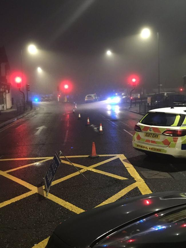 Closure - police on scene after the crash      Pic: Insp Rob Brettell