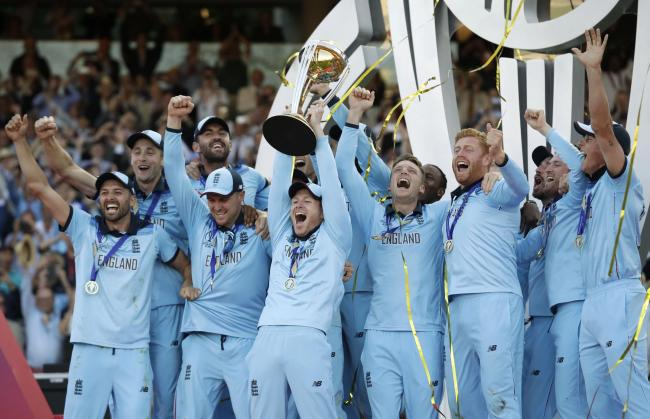 Winners - England celebrate beating New Zealand in the World Cup final
