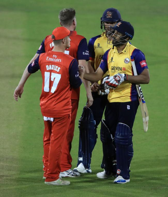 Job done - Essex's Ravi Bopara and Ryan ten Doeschate after beating Lancashire in the T20 Quarter Final at Chester-Le-Street.