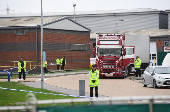 The lorry where the bodies were found in Grays