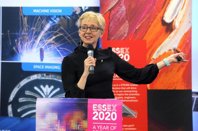 Rosie Millard from First Site Colchester speaking at the event.Launch of Essex 2020, A year of Science and Creativity at Teledyne e2v, Chelmsford. Pic LM 20/01/2019, Copyright Luan Groom.