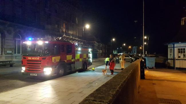 Blaze - firefighters put out the blaze at Ha'Penny Pier