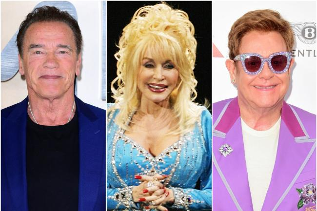 Arnold Schwarzenegger, Dolly Parton and Sir Elton John