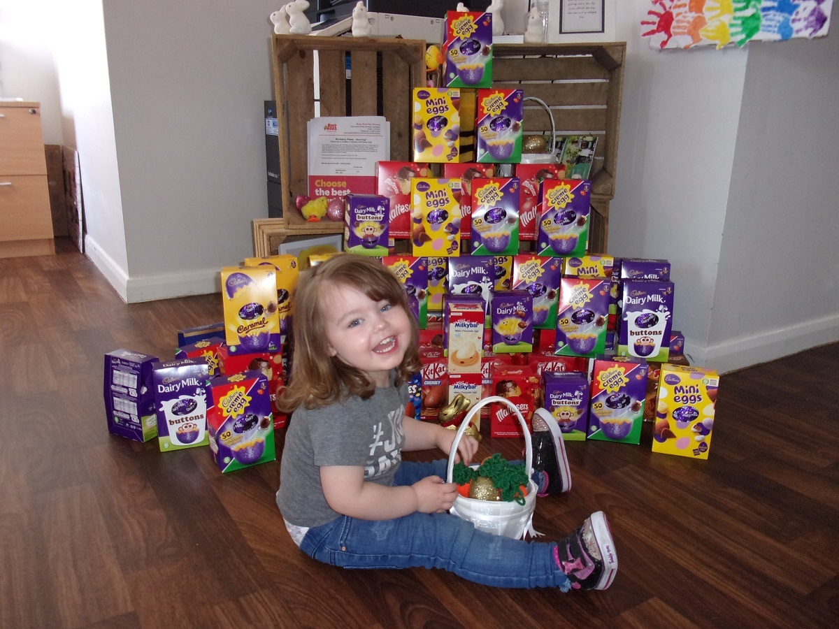 Feaster your eyes on this - Meaghan Price with the mountain of eggs donated by parents for residents at New Copford Place