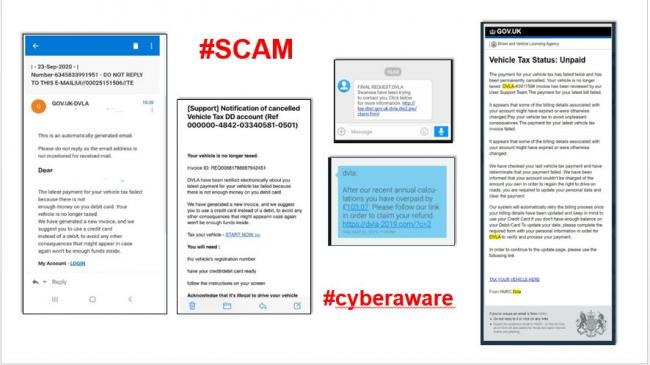 Some examples of the DVLA scams making the rounds. Photo - DVLA