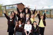 Full of energy - pupils at Temple Sutton Primary School celebrate the successful solar panel installation