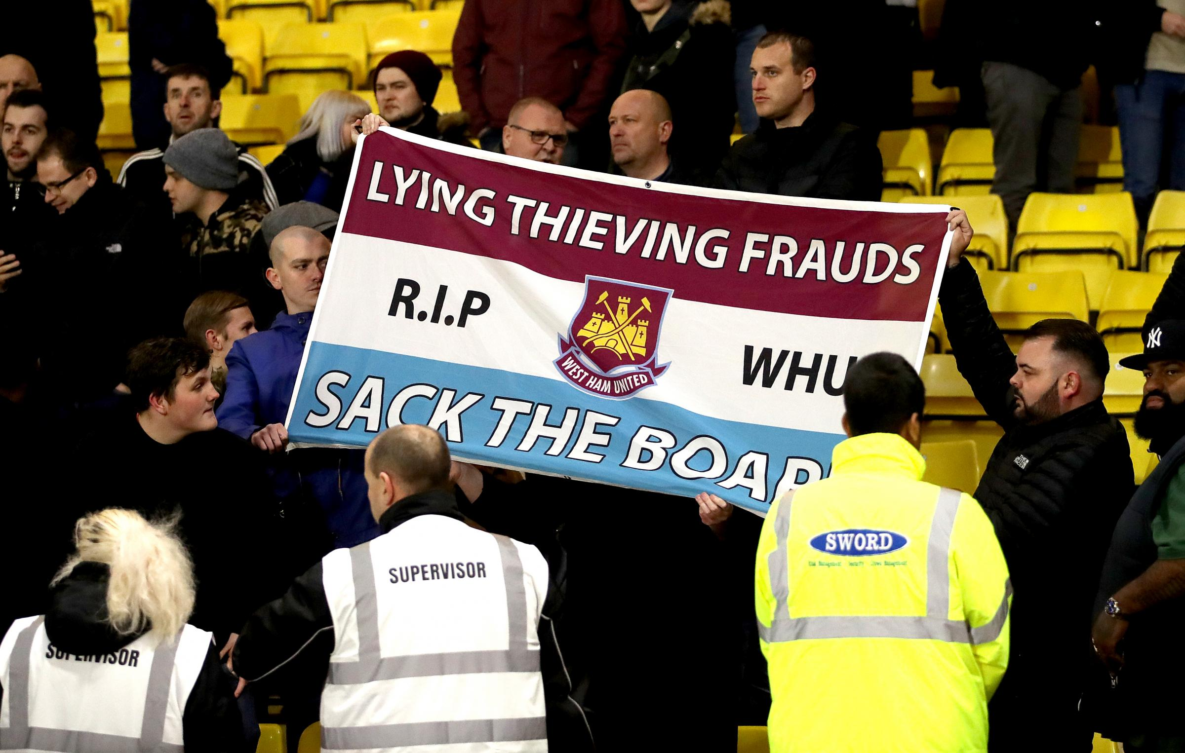 Vocal - West Ham fans have called for a change at the top