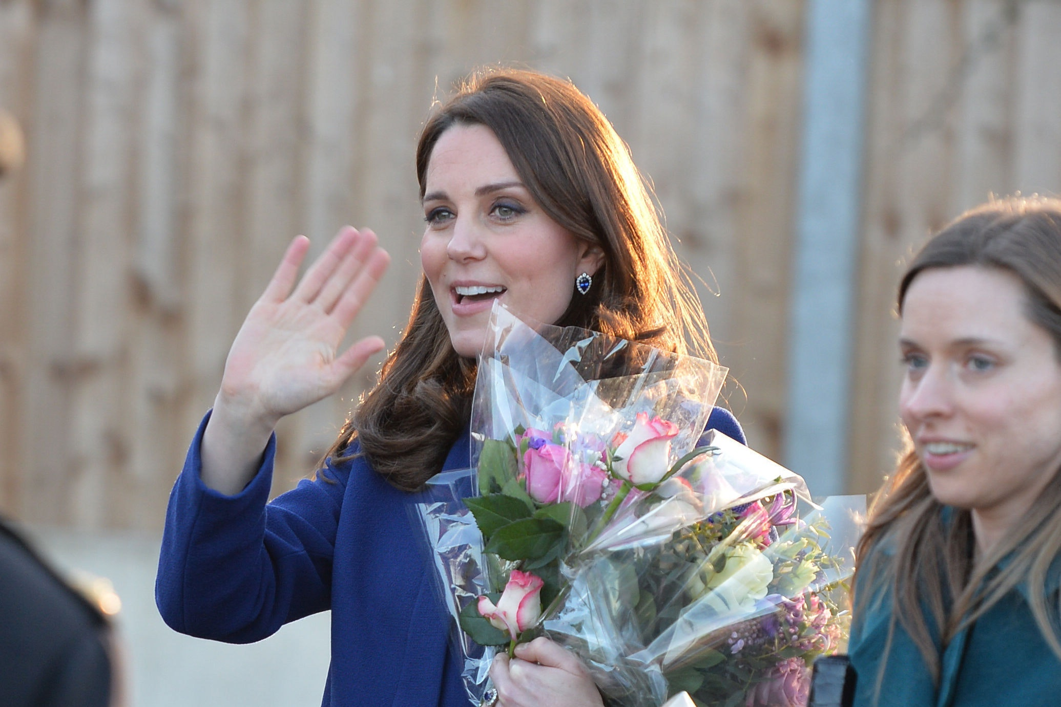 The Duchess of Cambridge leaves after visiting an Action on Addiction treatment centre in Wickford, Essex, which helps people with addictions.