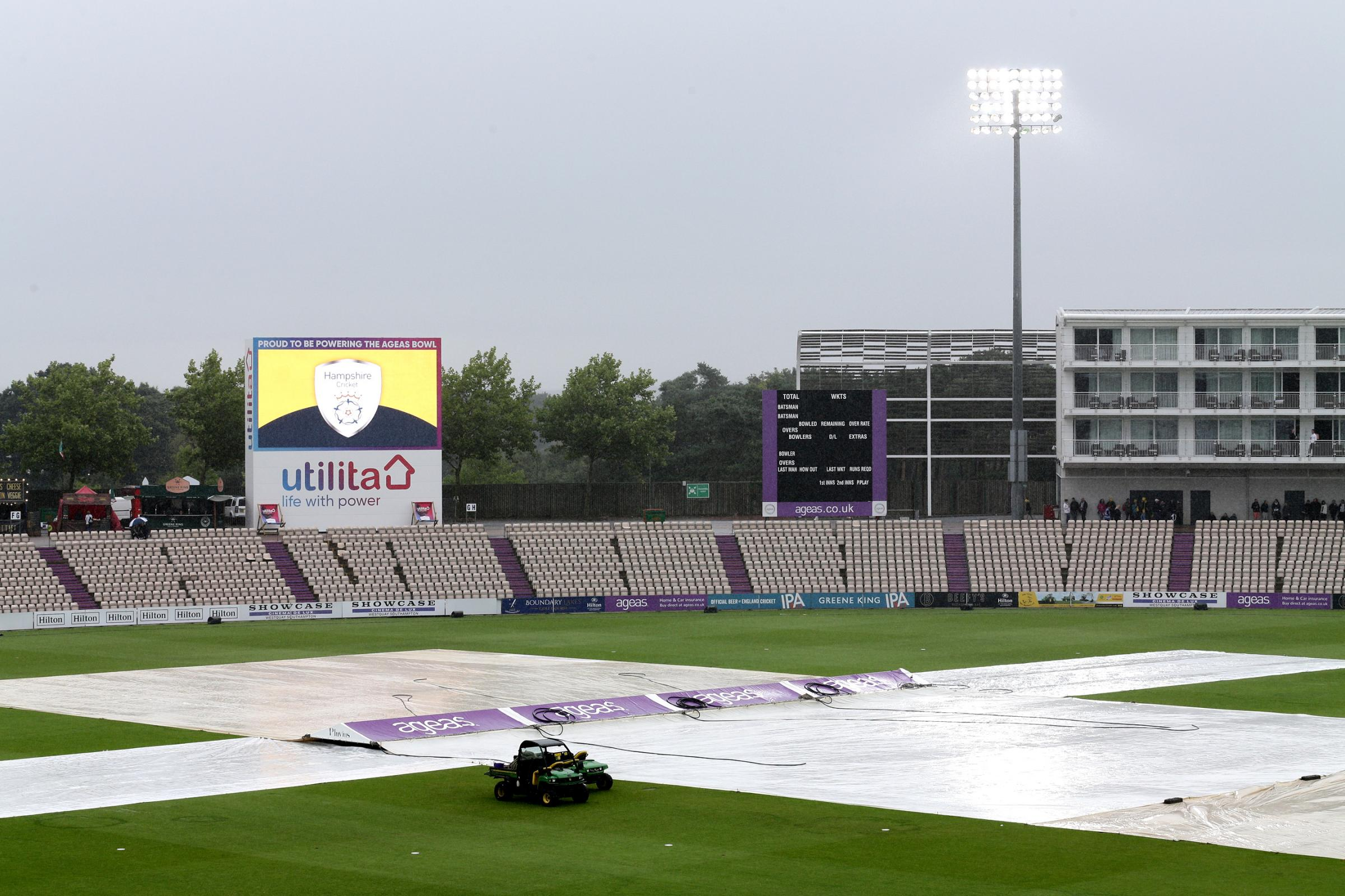 Here comes the rain again - Essex Eagles' Vitality Blast clash with Hampshire was abandoned after just 7.5 overs Picture: TGSPHOTO