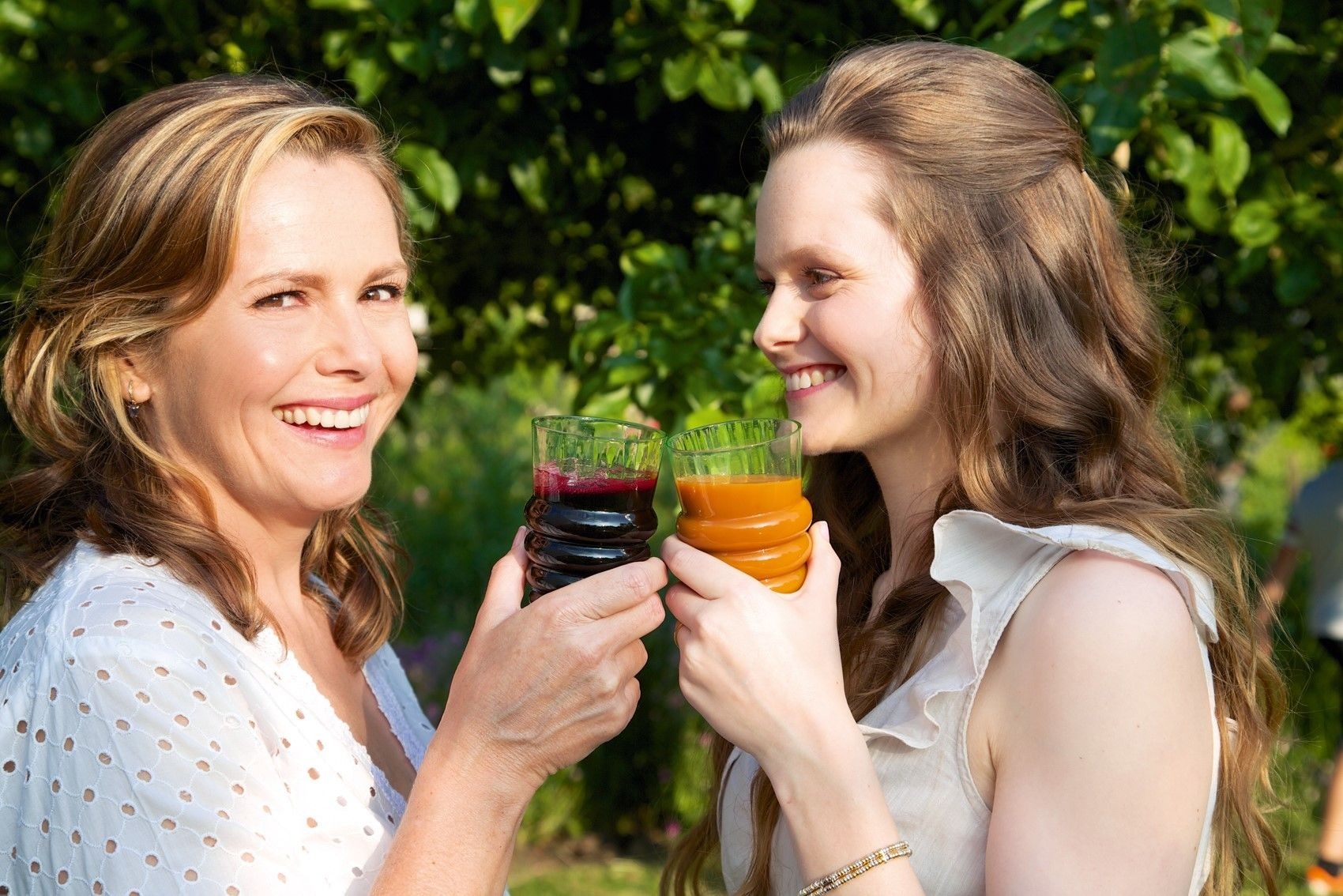 Liz Earle with daughter Lily at a garden party. Picture: PA Photo/Patrick Drummond