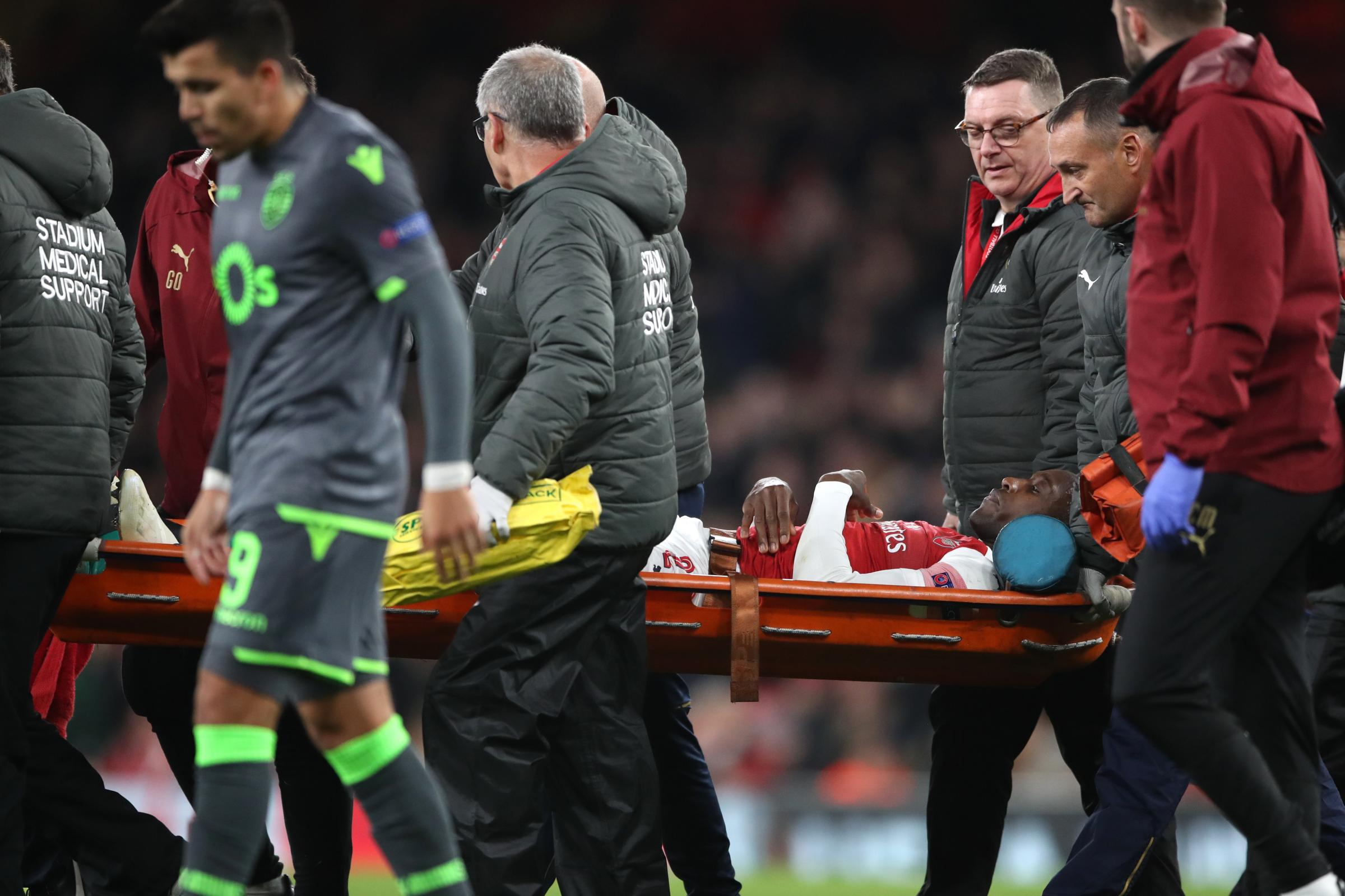 Danny Welbeck was stretchered off against Sporting