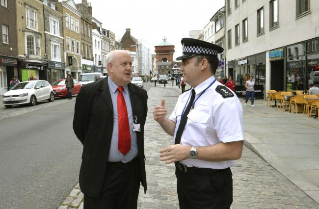 Cllr Mike Lilley with Chief Inspector Shaun Kane discussing Colchester town safety..