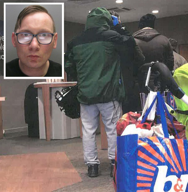 Simon Jones, 38, queued behind other customers in Bishop Auckland for 15 minutes wearing blue latex gloves, a hooded top pulled up, a face mask and dark glasses. He was also carrying a bottle of Febreze and a hold-all.