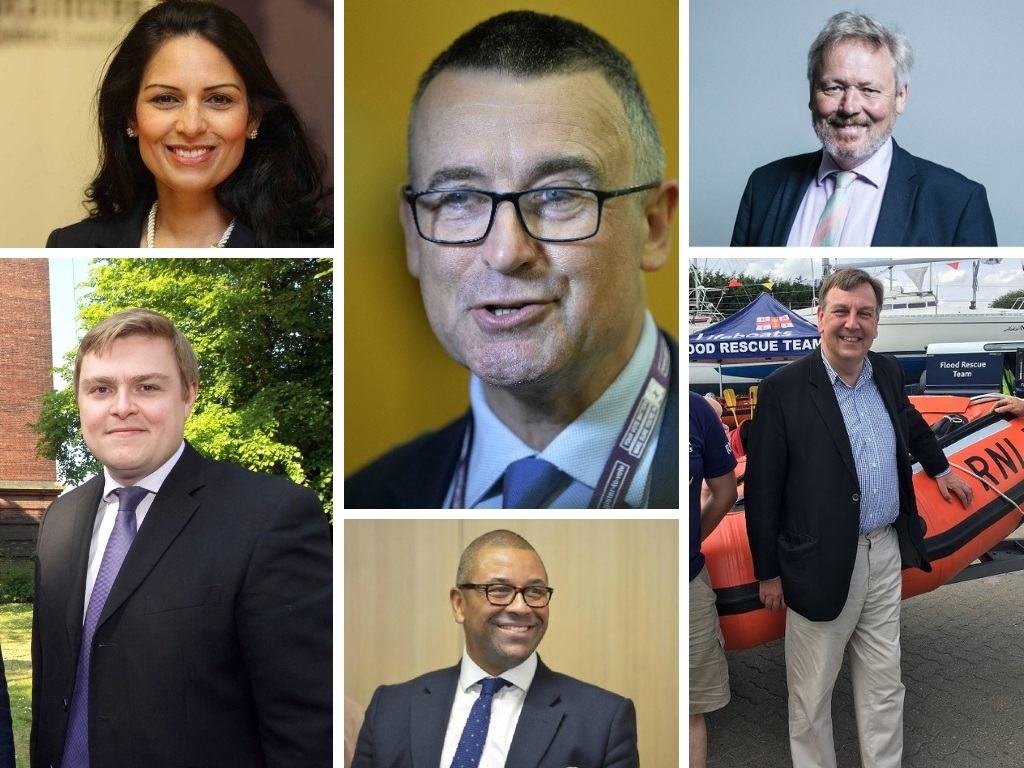 North Essex MPs - Priti Patel, Will Quince, Bernard Jenkin, James Cleverly, Giles Watling and John Whittingdale