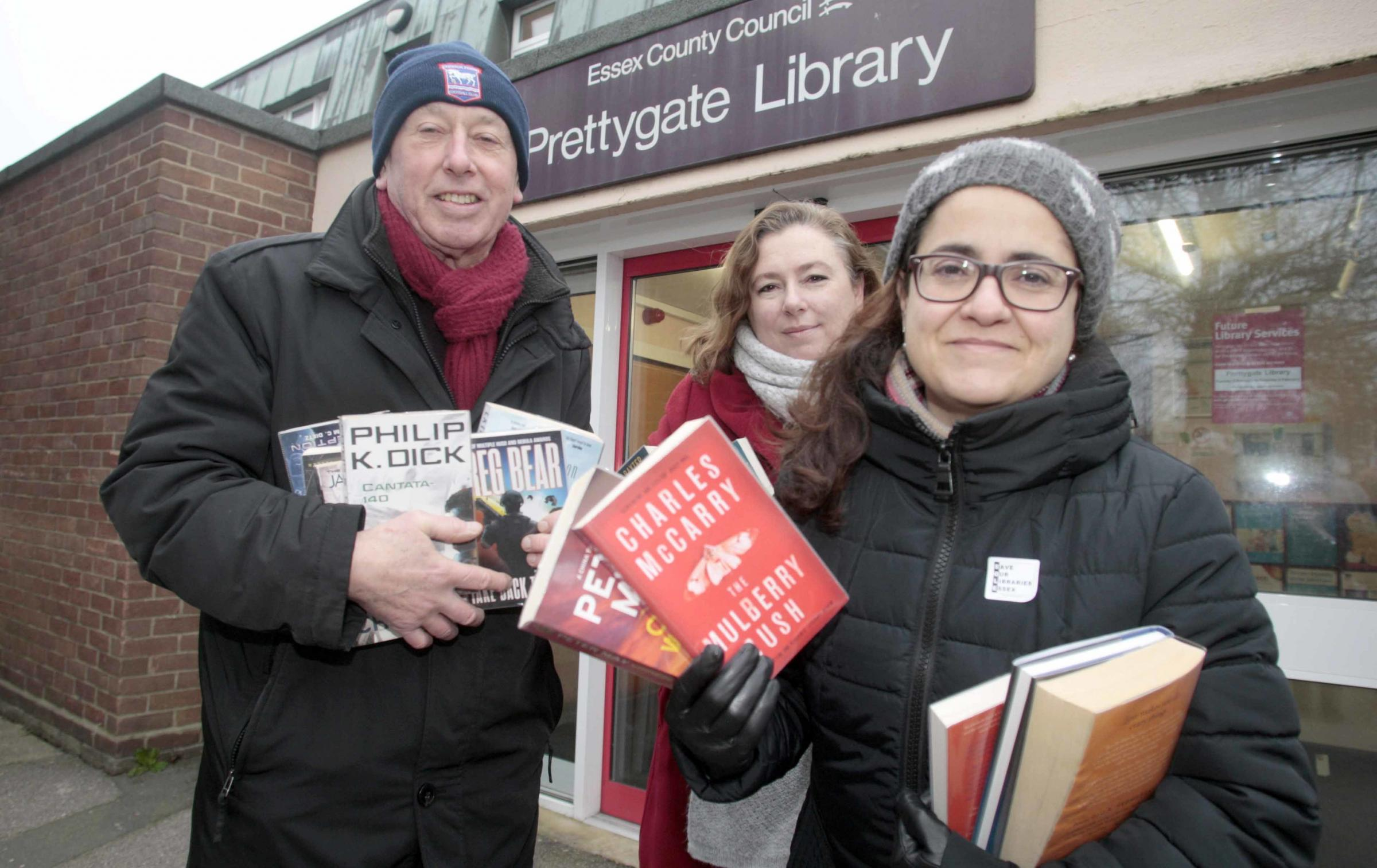 Second library raid where protesters are checking out as many books as possible in protest to Essex County Council proposing to close a number of libraries on Saturday at Prettygate Library.Local residence, Sonia Bartley, Dave Ling and Katy Vargas..