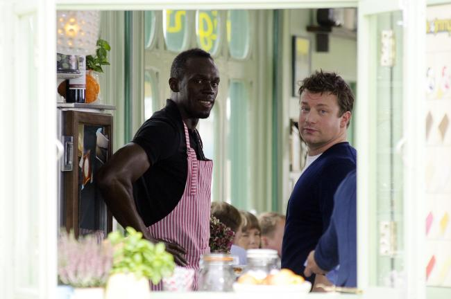 Jamie Oliver and Usain Bolt filming in Southend in 2013