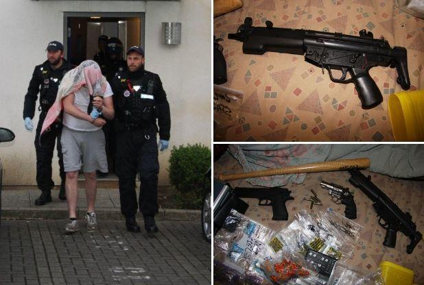 Arrested and seized - One man who was arrested and the weapons and drugs seized in Brentwood